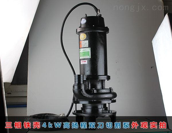 三相4kW高扬程(35米扬程)双刀切割泵正面实拍