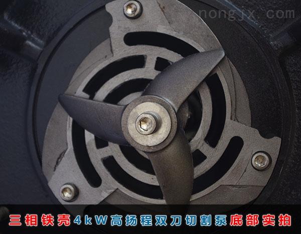 三相4kW高扬程(35米扬程)双刀切割泵底部刀盘、刀盘实拍