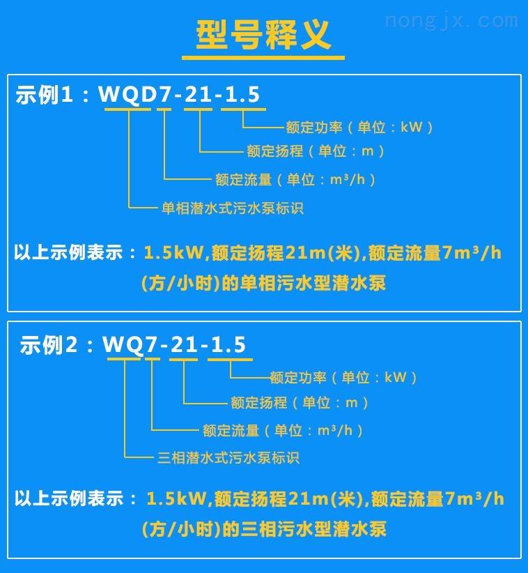 污水泵WQD7-21-1.5、WQ7-21-1.5型号含义