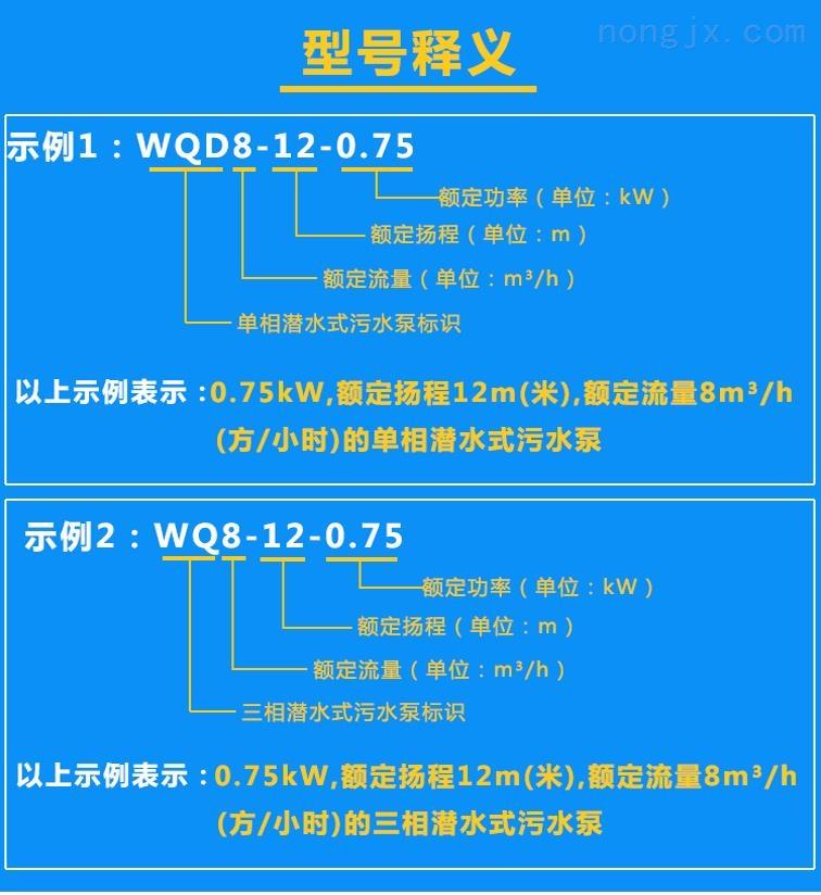 清水泵WQD8-12-0.75、WQ8-12-0.75型号含义