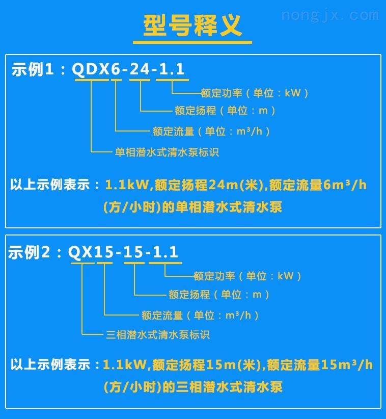 清水泵QDX6-24-1.1、QX15-15-1.1(65口径)型号含义